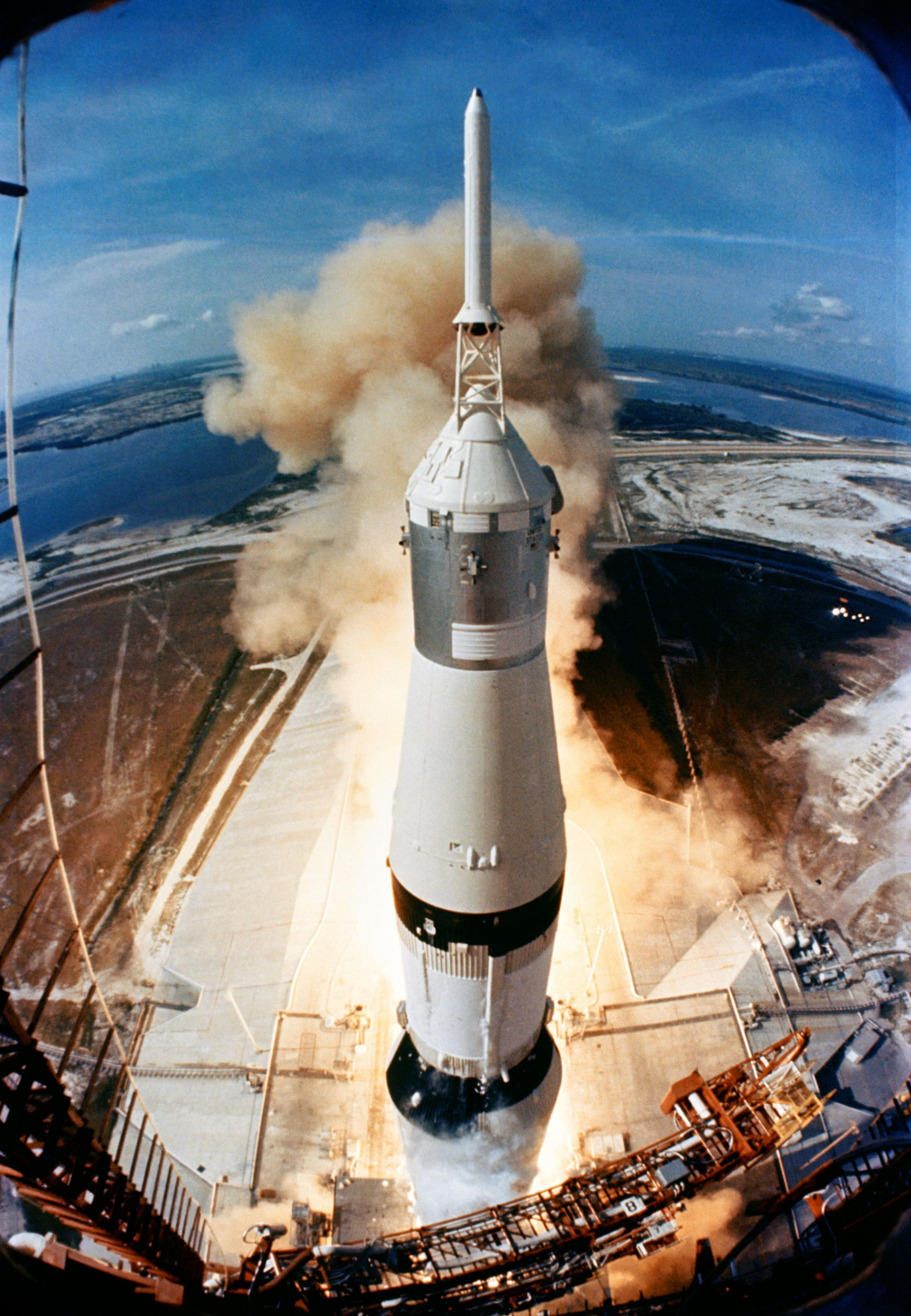 Apollo 11's Saturn V rocket launches July 16, 1969 (Photo by NASA)