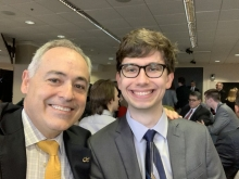 Georgia Tech President Angel Cabrera and Daniel Gurevich at the USG Academic Recognition Day Awards Feb. 11. (Photo by Angel Cabrera)